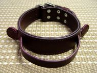 Dog collar made of leather with 2 ply leather and handle for agitation work ( dog training equipment )