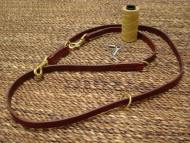 Training dog leash made of leather two length adjustable